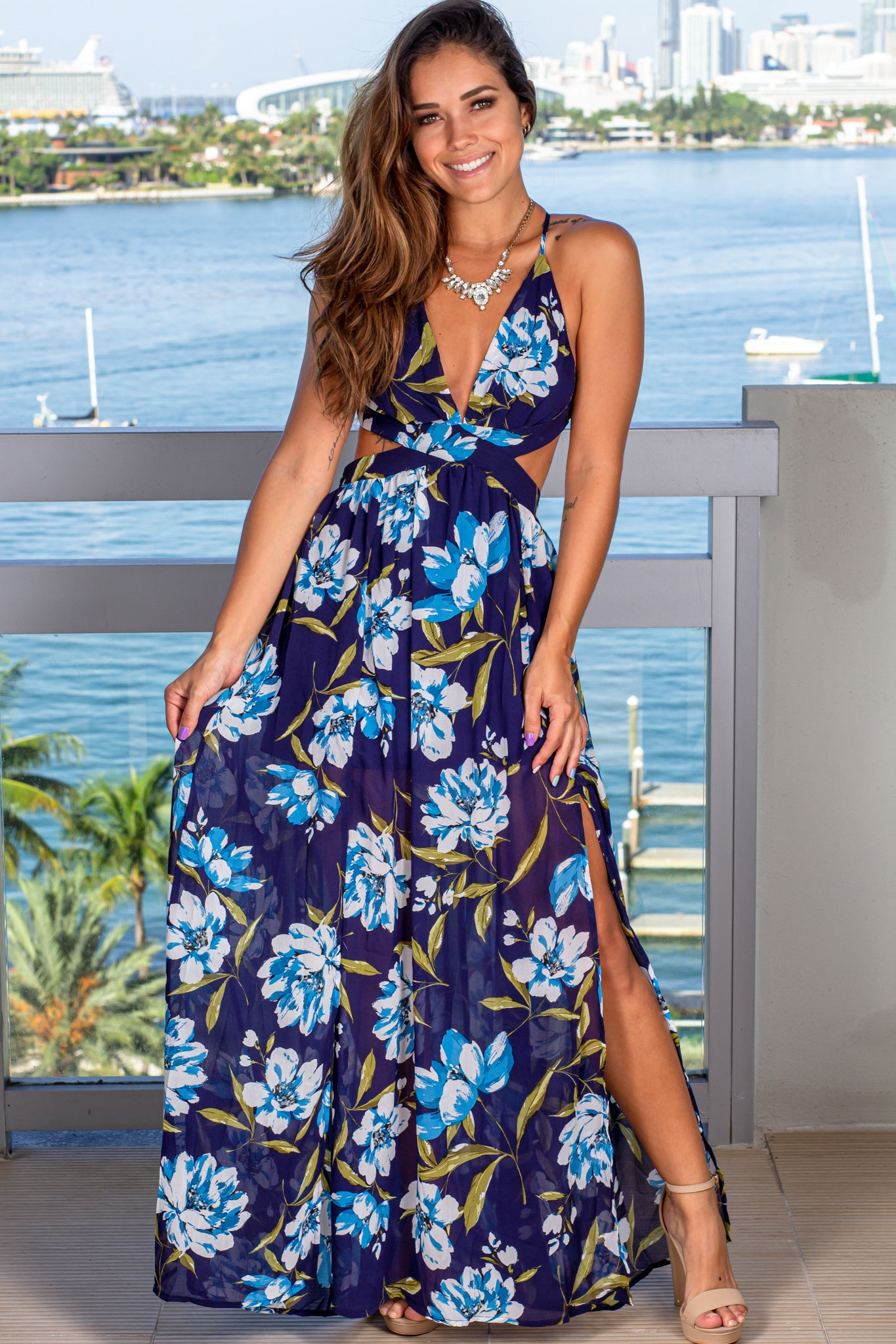 navy and ivory floral maxi dress with slits