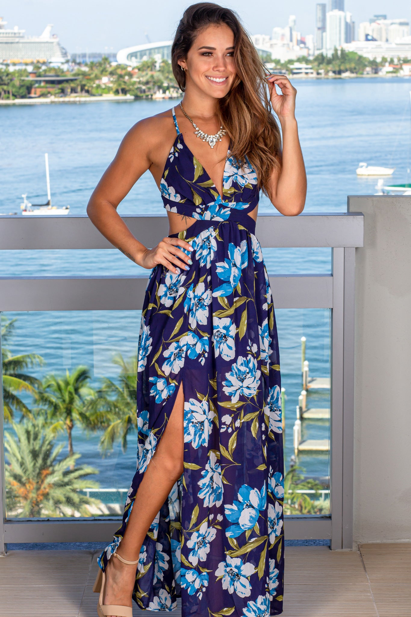 navy and ivory floral vacation dress
