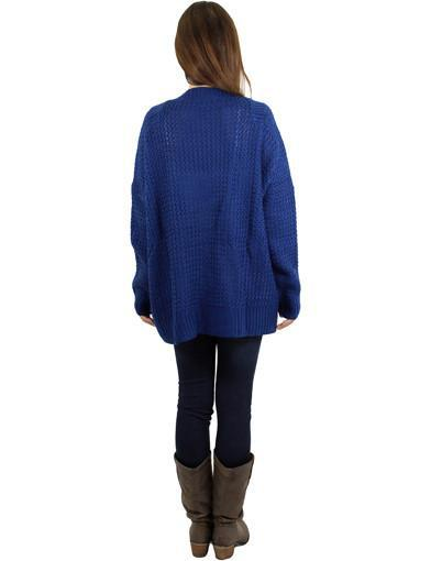 Navy cardigan - back view