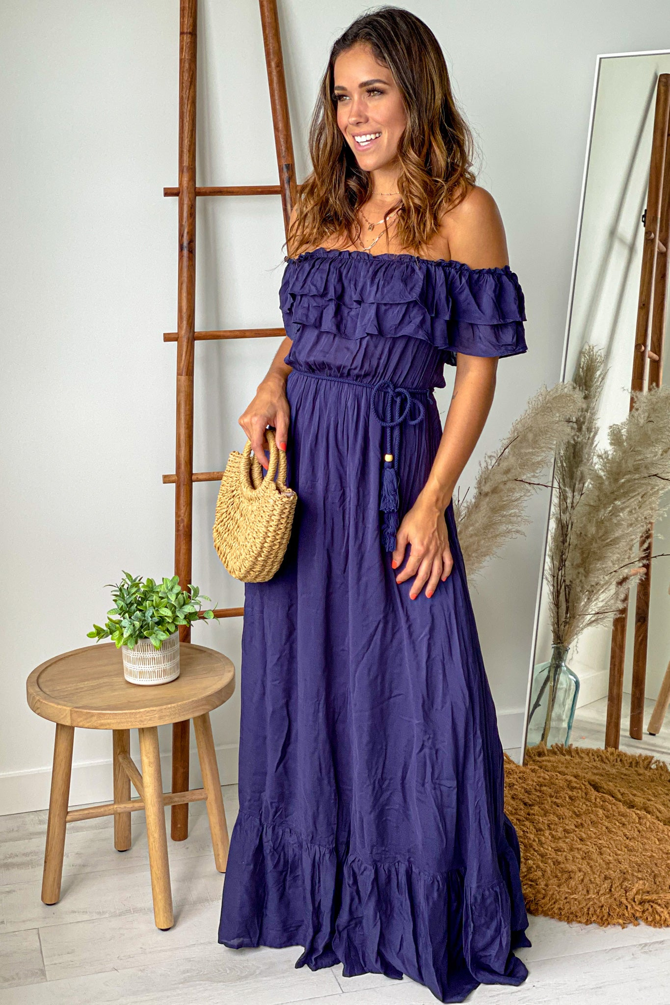 navy casual maxi dress