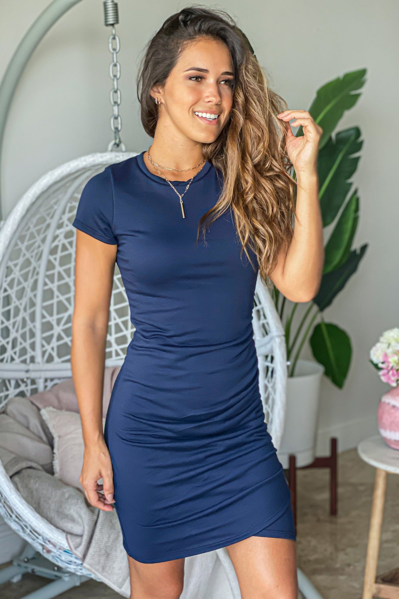 navy casual short dress