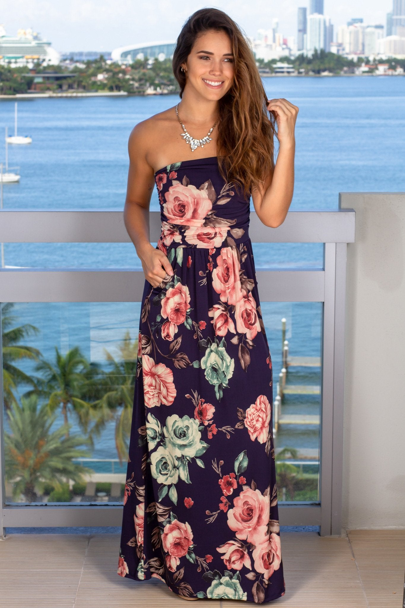 navy floral casual dress
