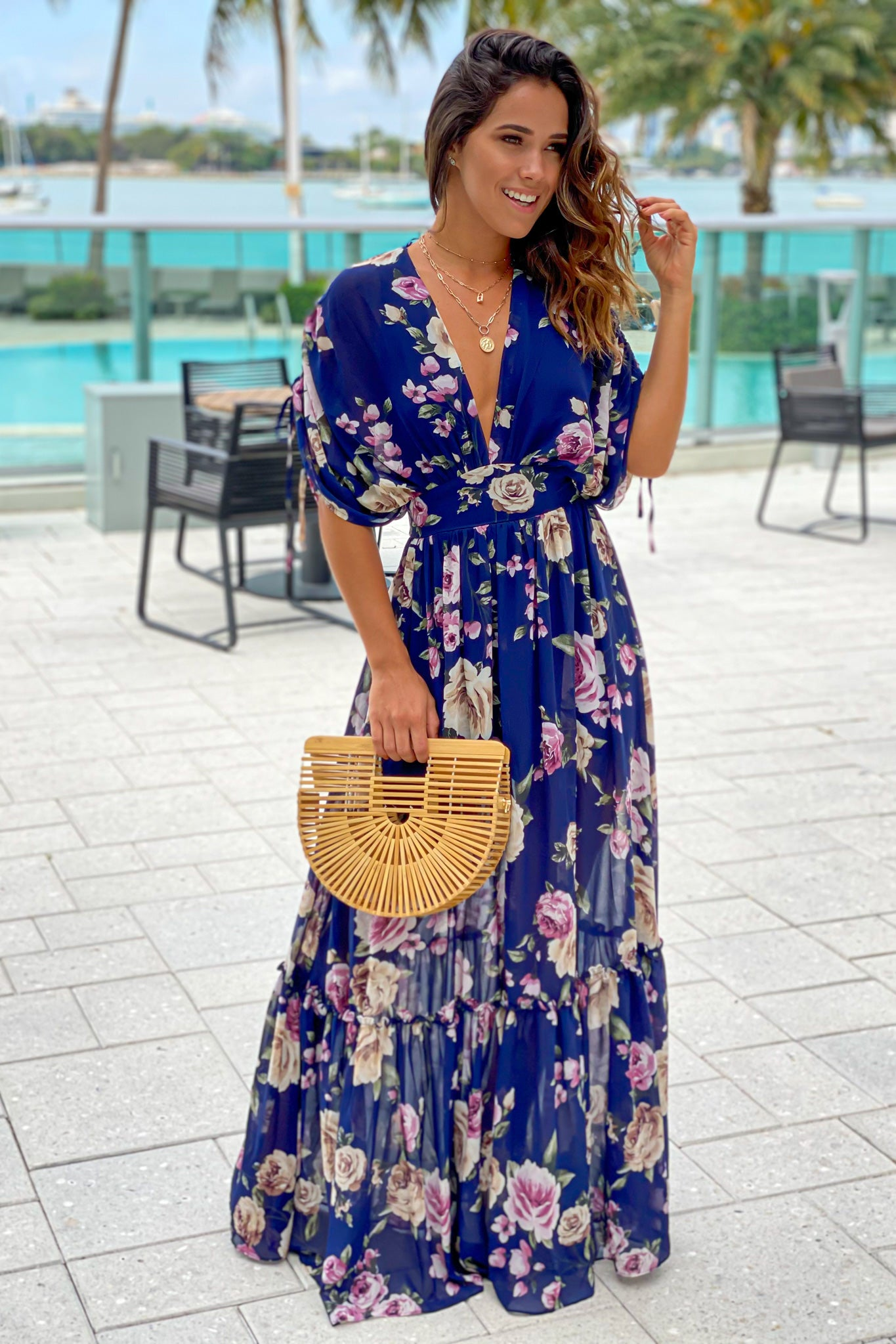 navy floral cute maxi dress