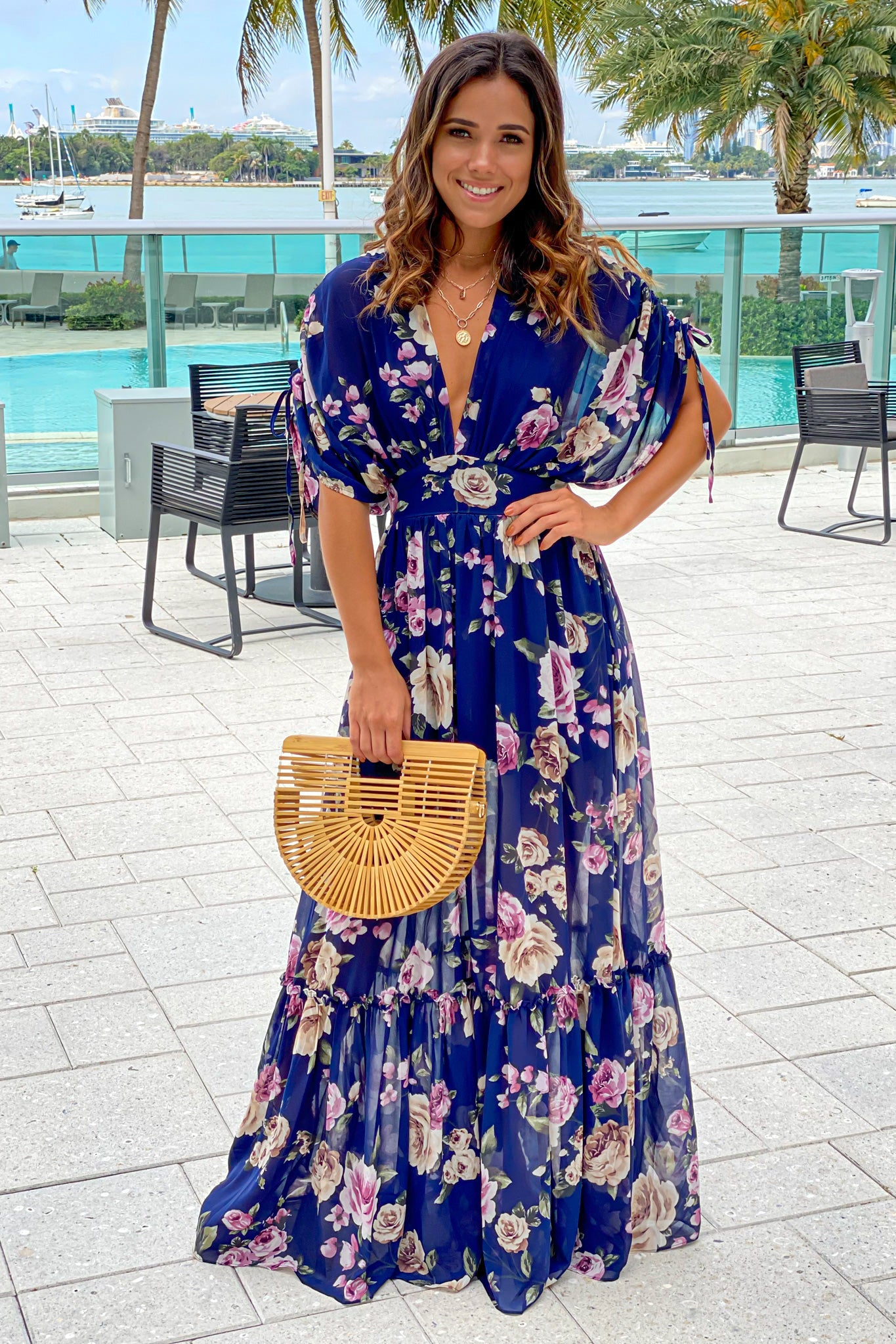 navy floral maxi dress with dolman sleeves