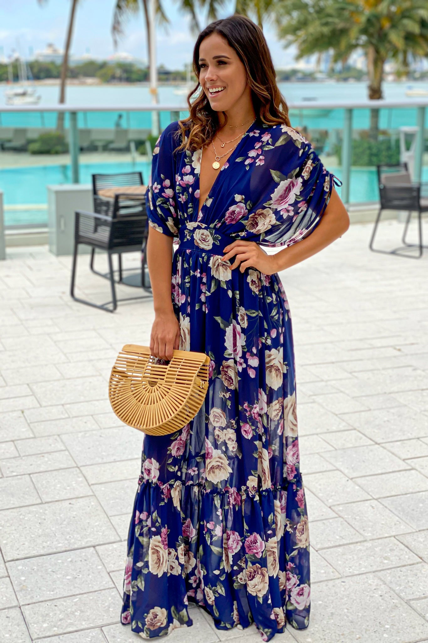 navy floral summer maxi dress