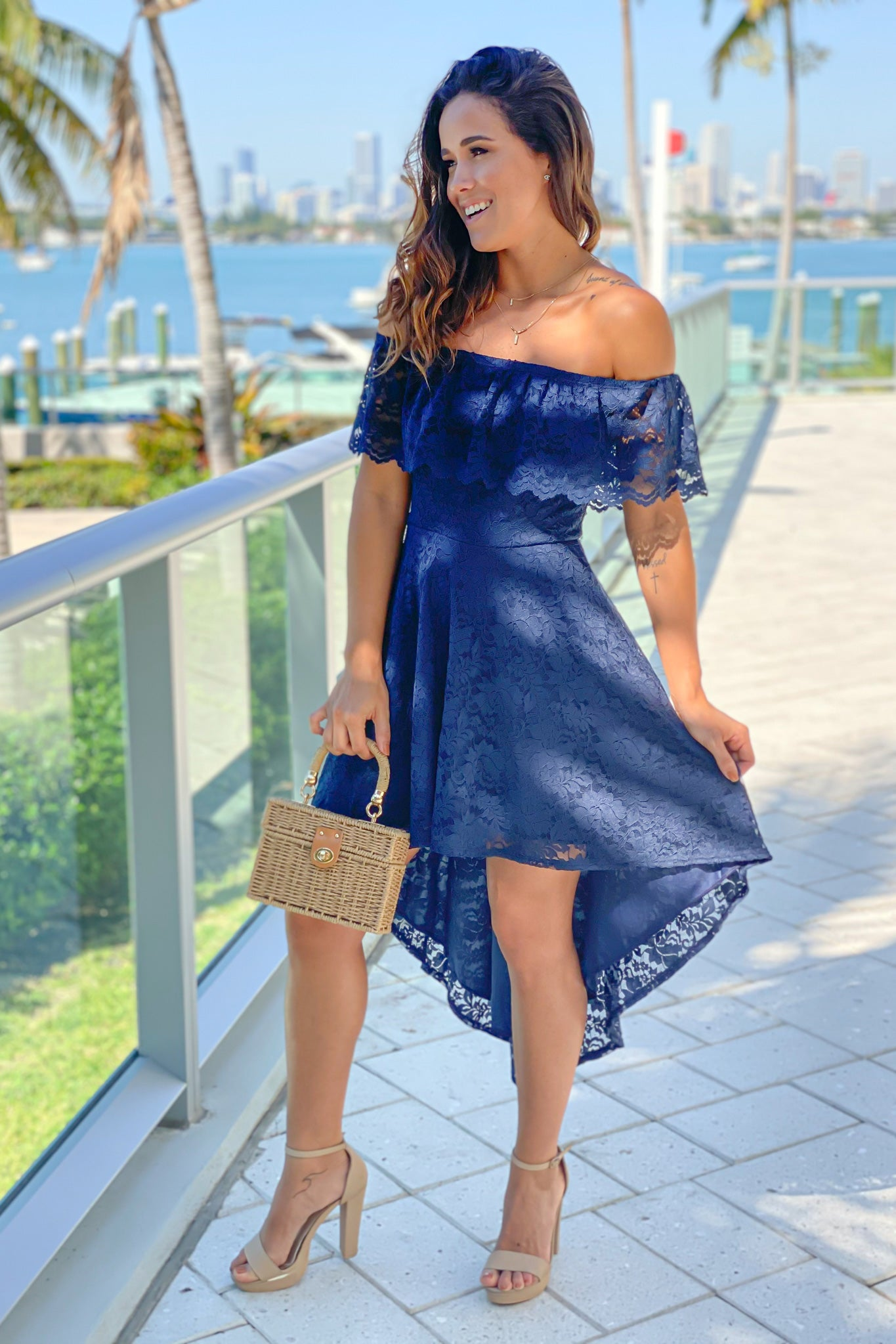 navy formal high low dress