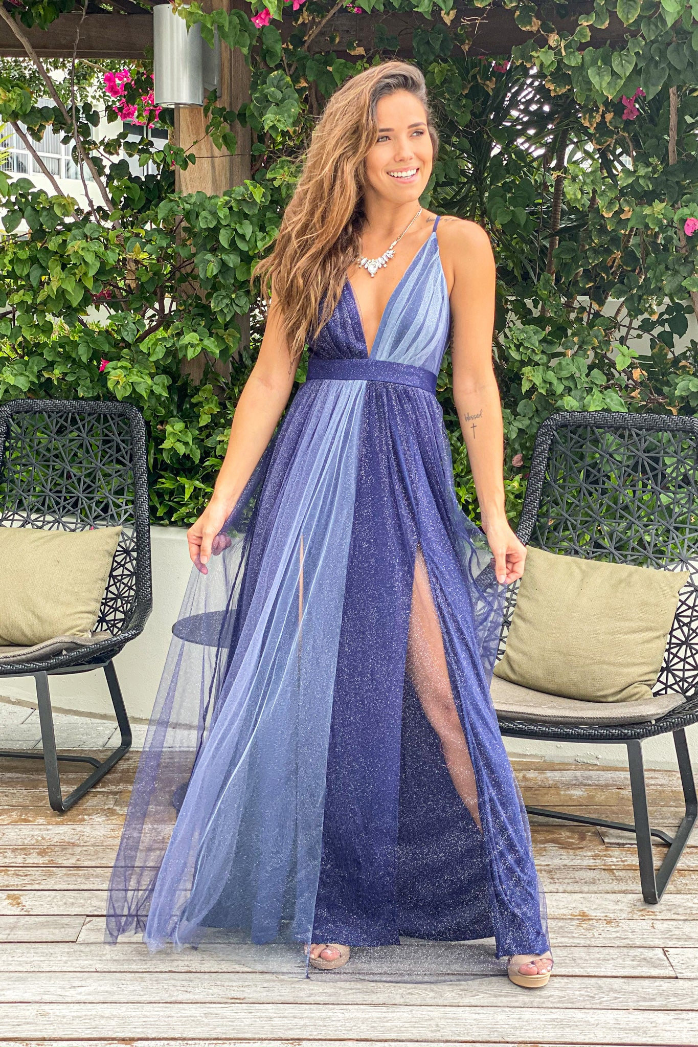 navy formal maxi dress
