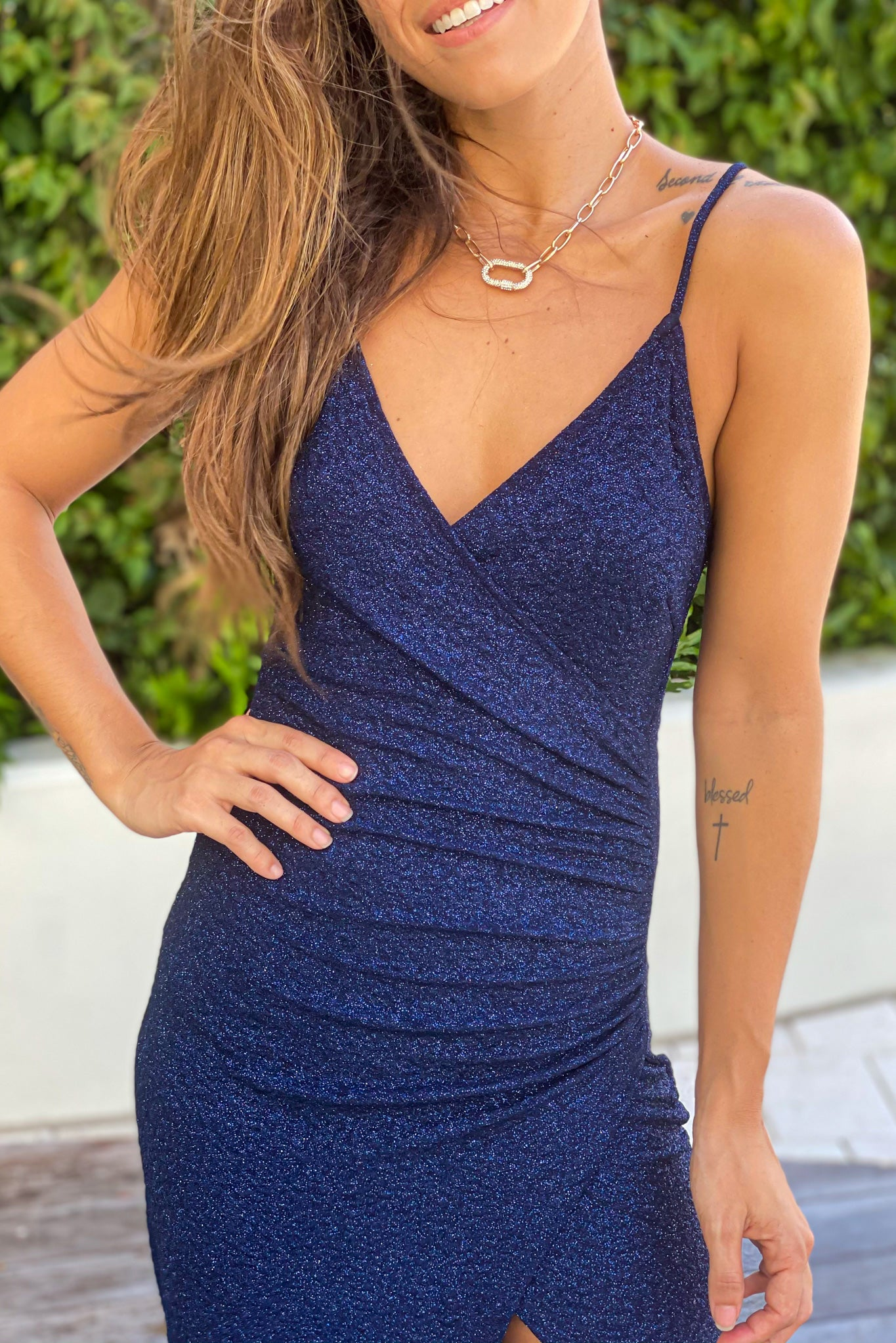 navy glitter bridesmaids dress