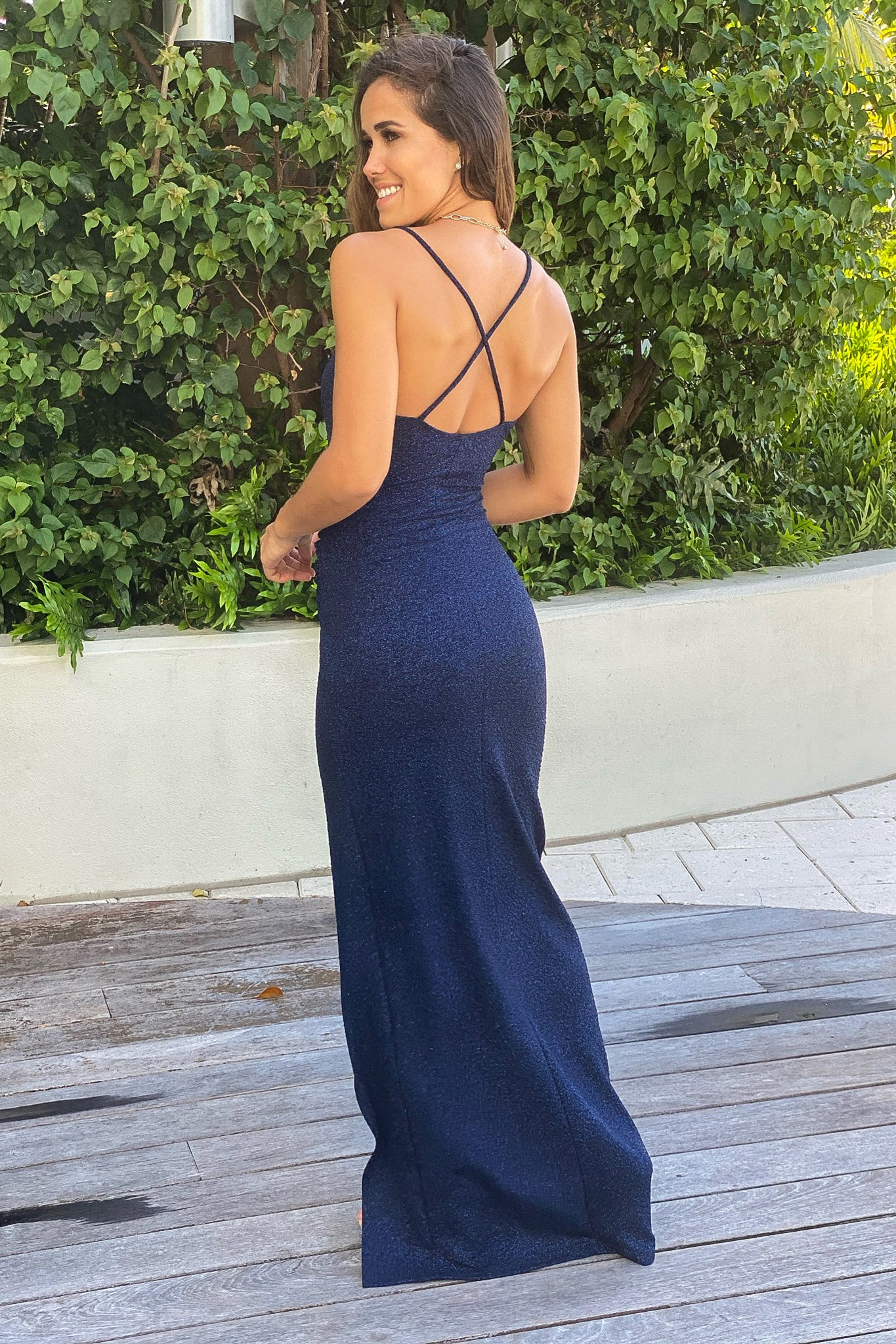 navy glitter formal maxi dress