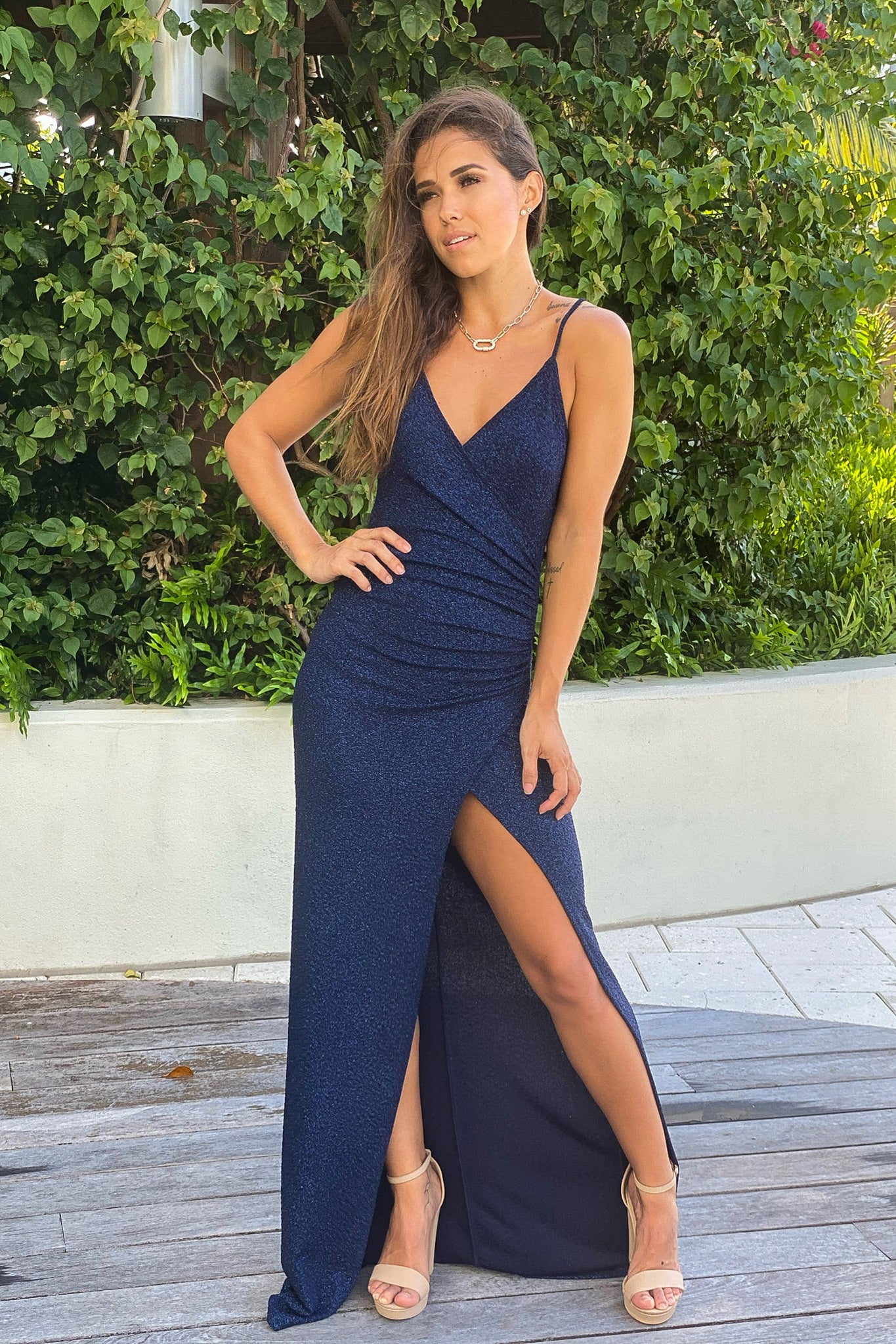 navy glitter maxi dress with slit