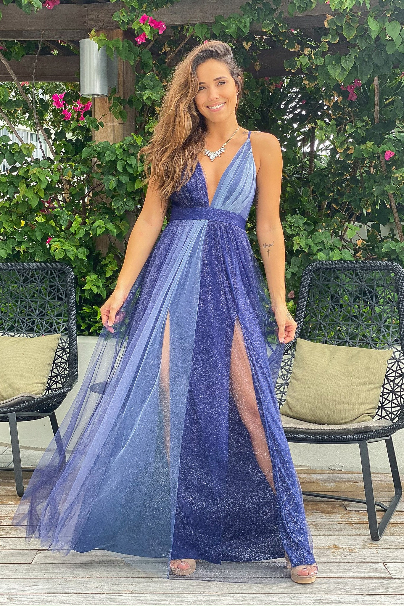 navy glitter ombre maxi dress
