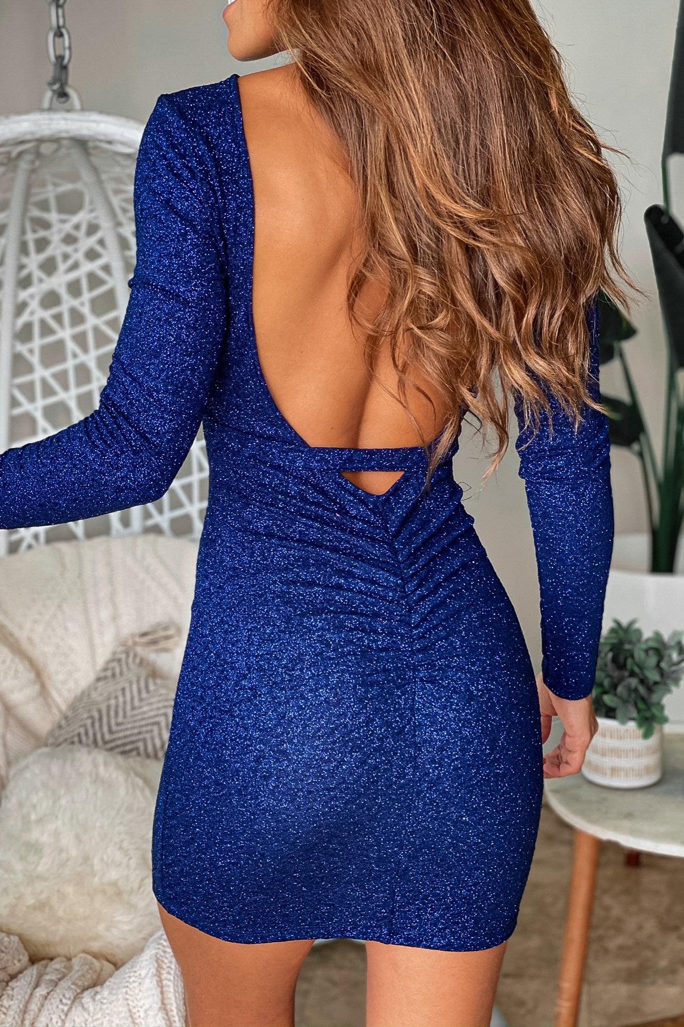 navy glitter short dress with open back