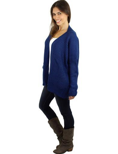 Navy knit cardi - side view