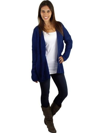 Navy knit cardigan - main image