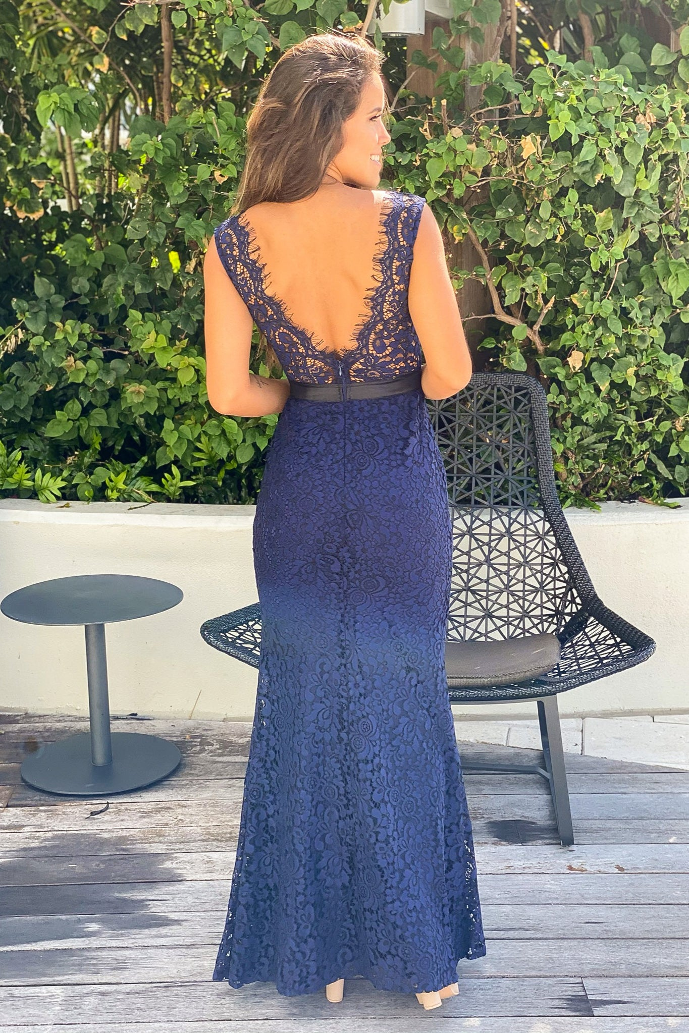 Navy Lace Maxi Dress With Belt Detail