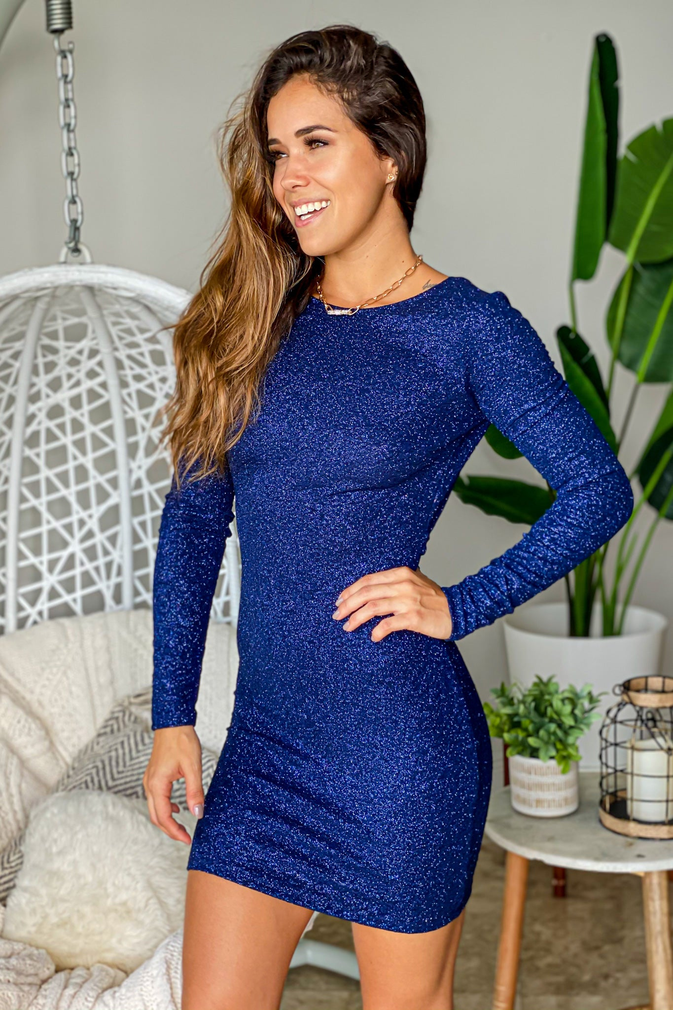 navy long sleeve short dress