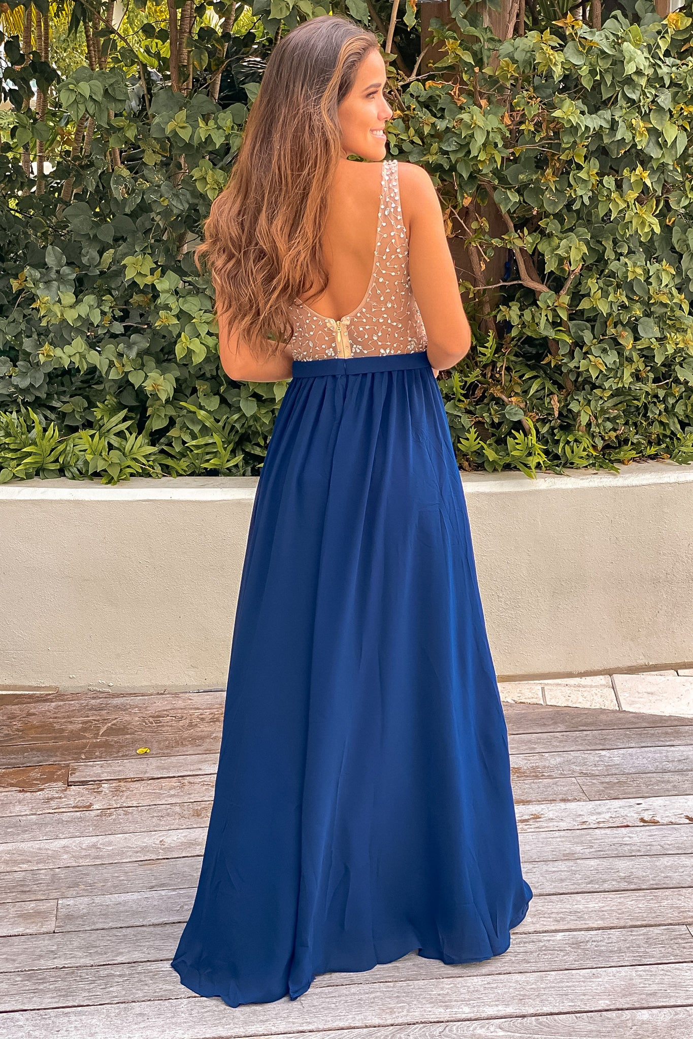 navy maxi dress with silver jewels