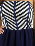 Navy maxi dress with striped top - zoomed view