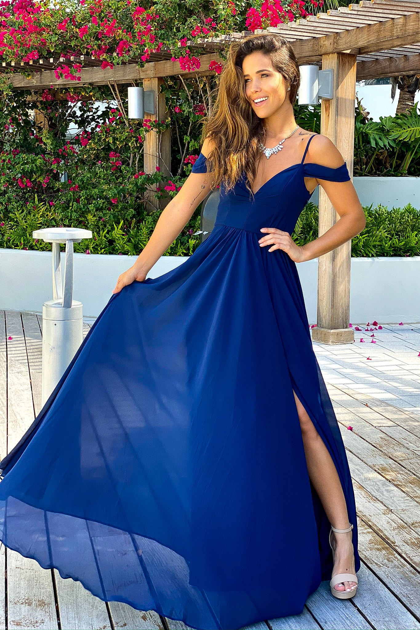 navy off shoulder bridesmaid dress