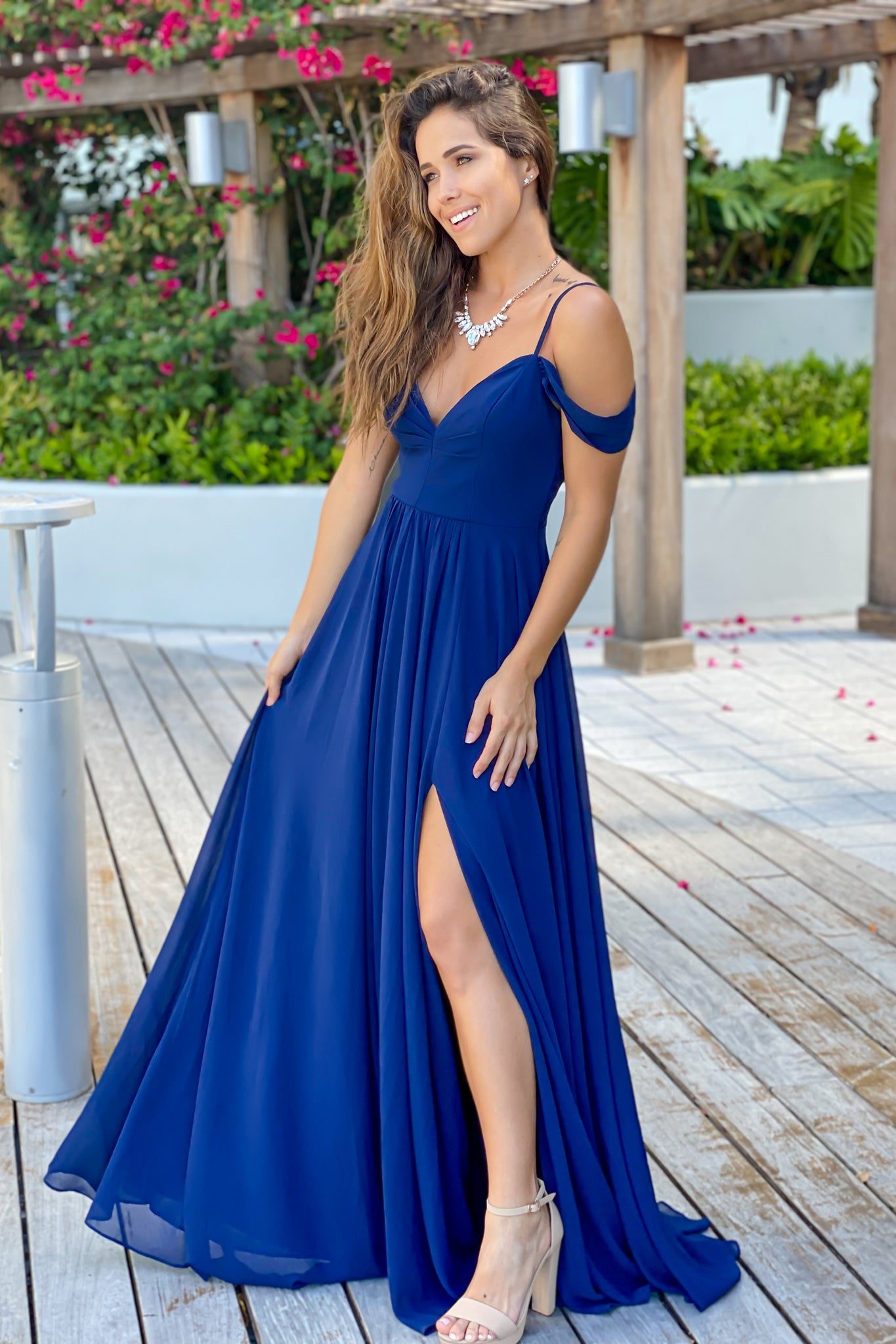 navy off shoulder formal dress