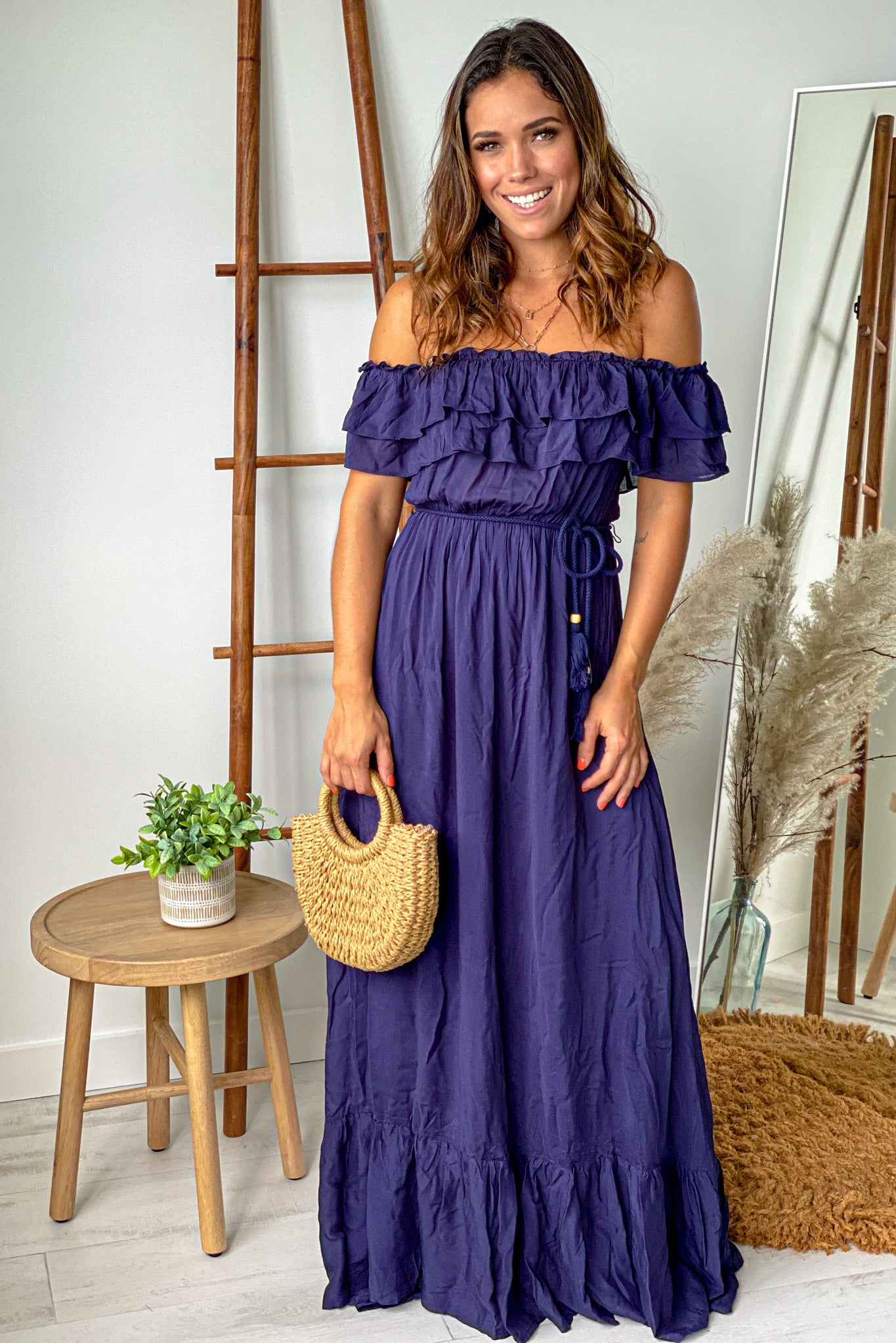 navy off shoulder maxi dress with tassel belt
