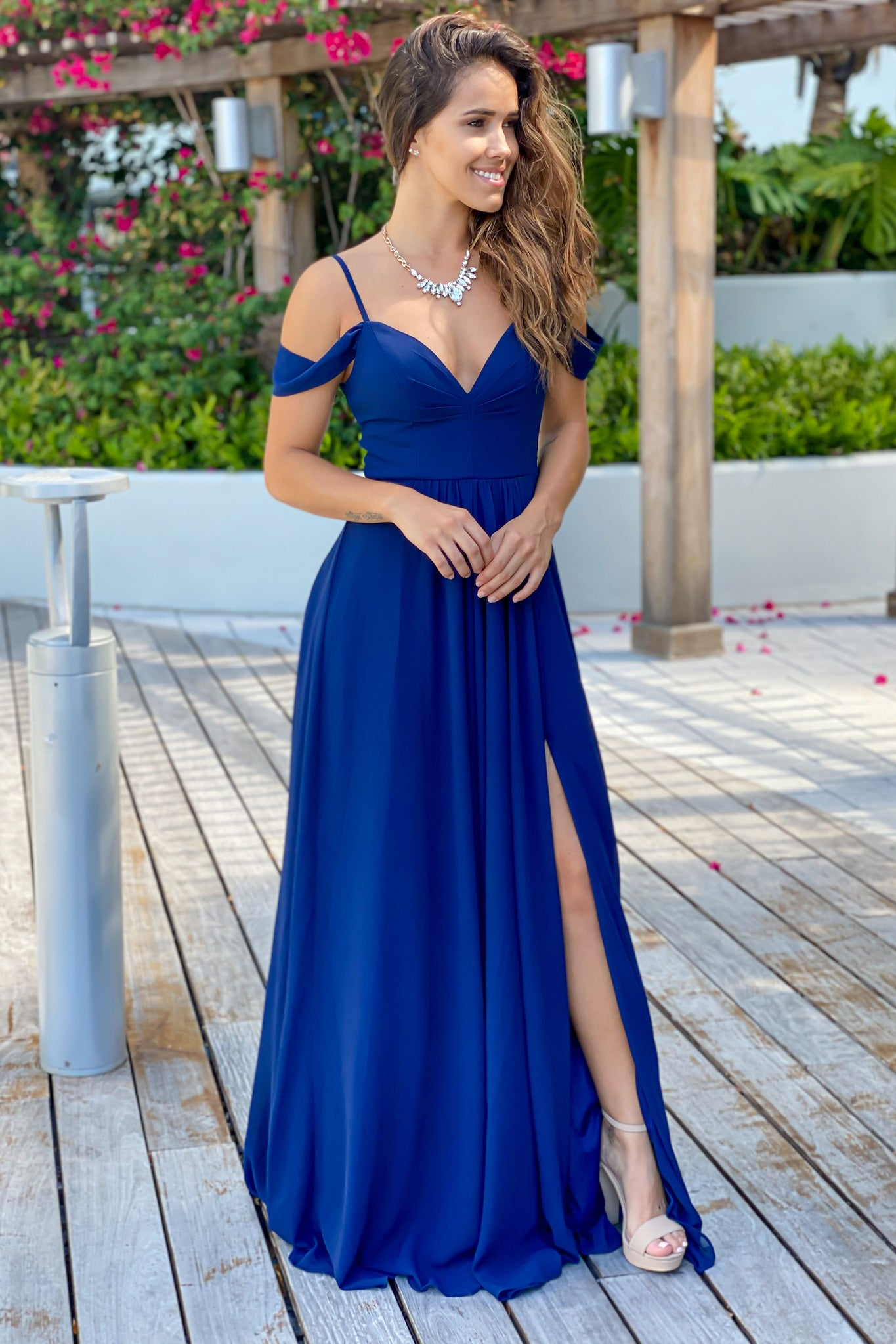 navy off shoulder prom dress