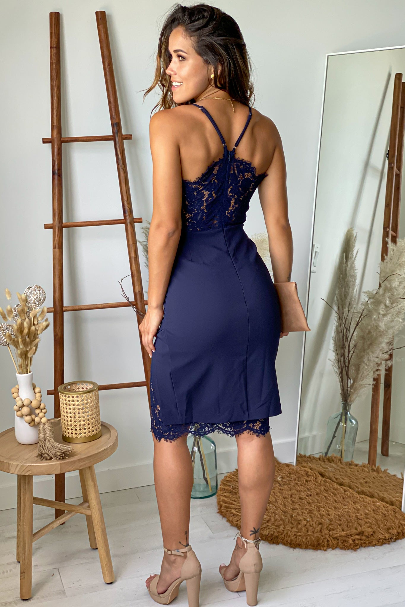 navy short dress with lace