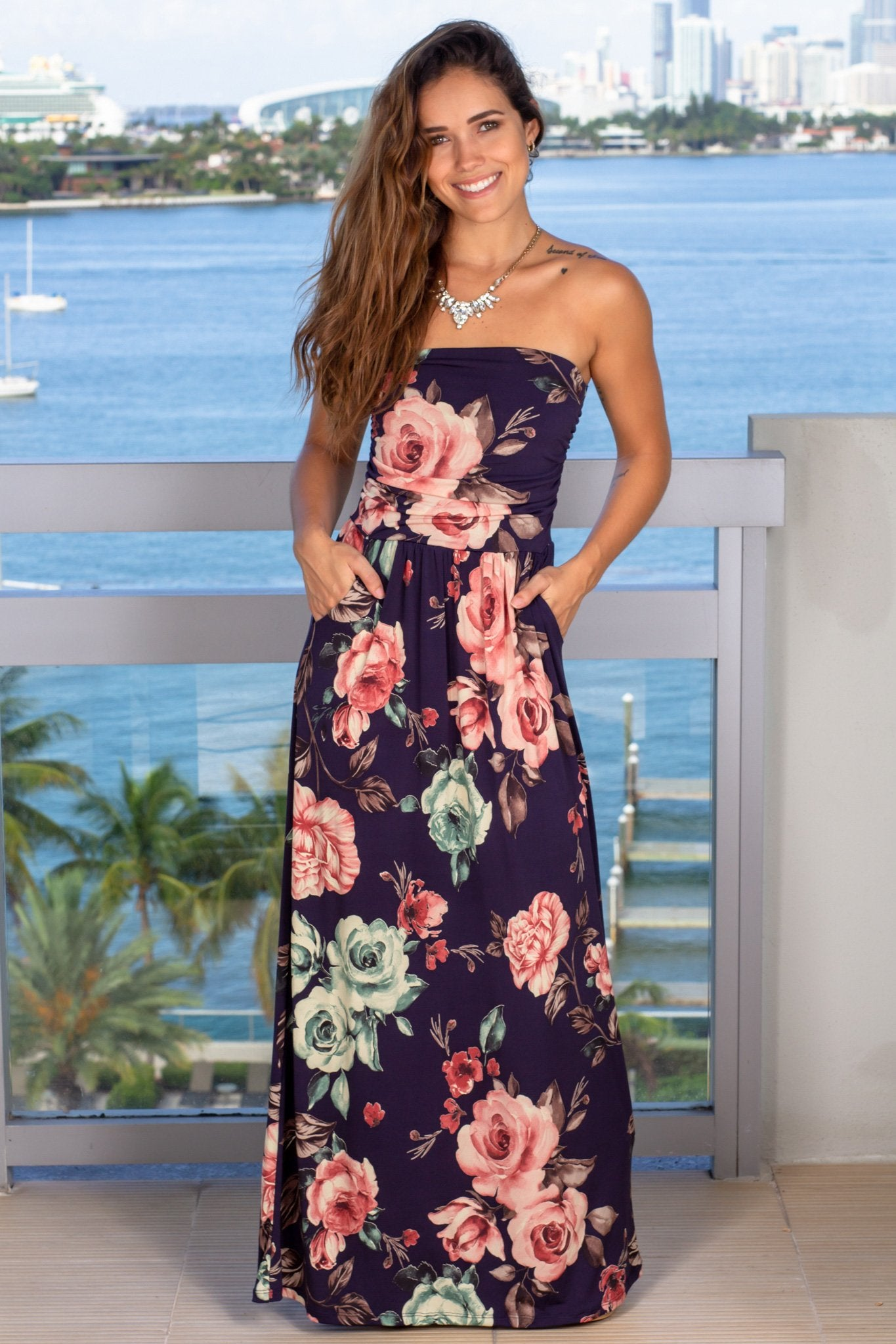 navy strapless floral maxi dress