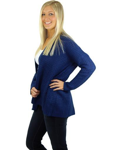 Navy sweater cardigan - side view