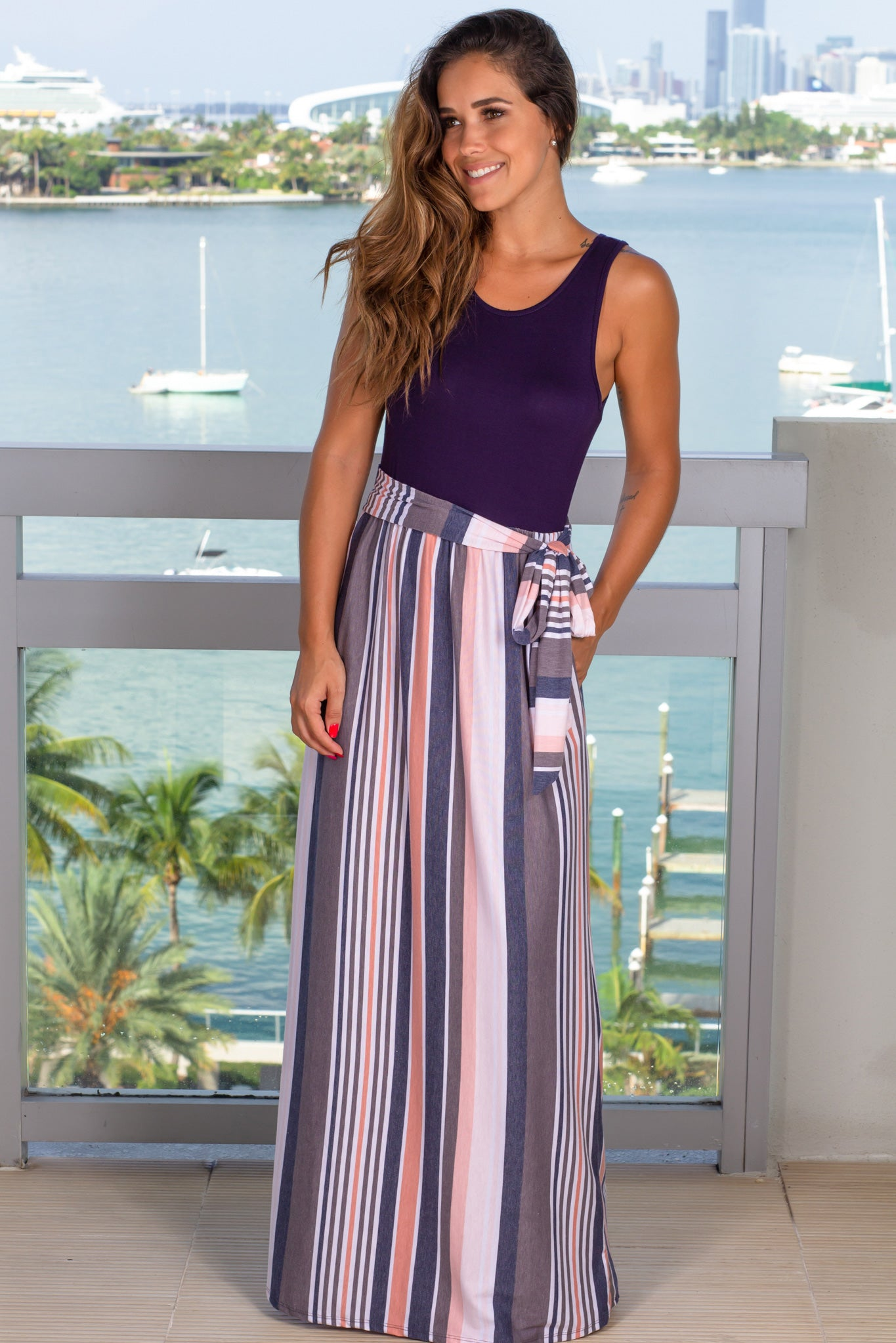 navy top charcoal sleeveless striped maxi dress