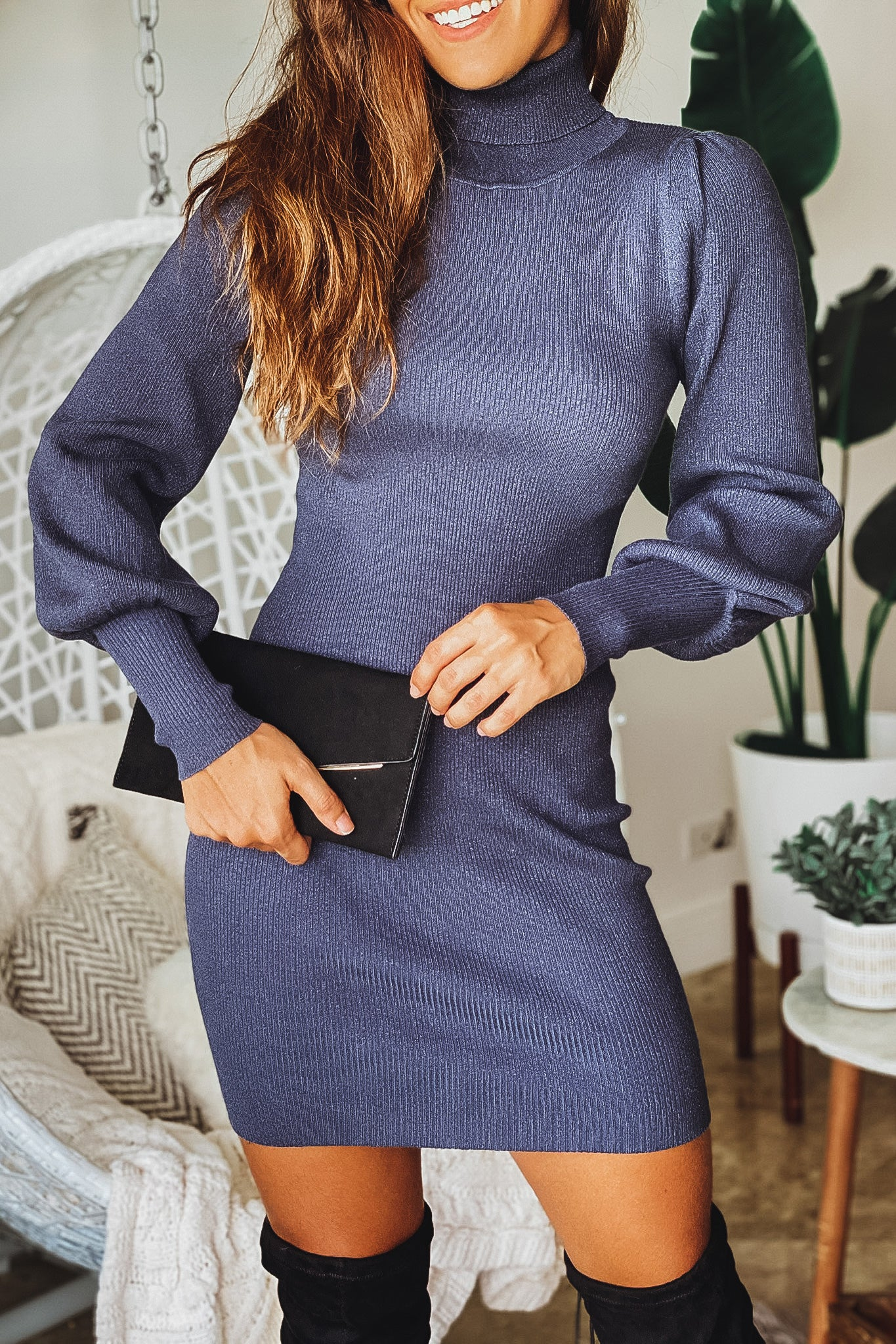 navy turtleneck short dress with puff sleeves