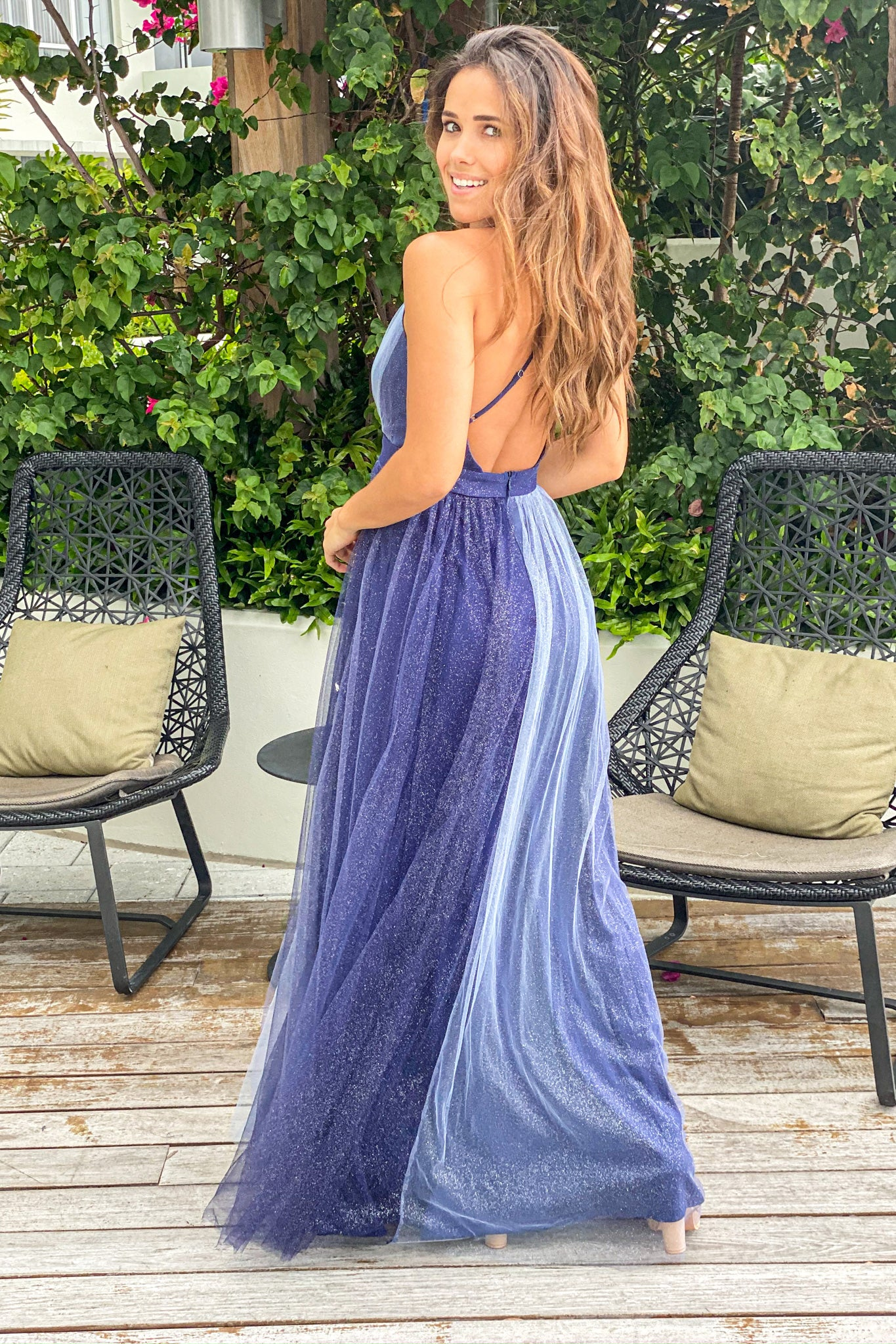navy wedding guest maxi dress