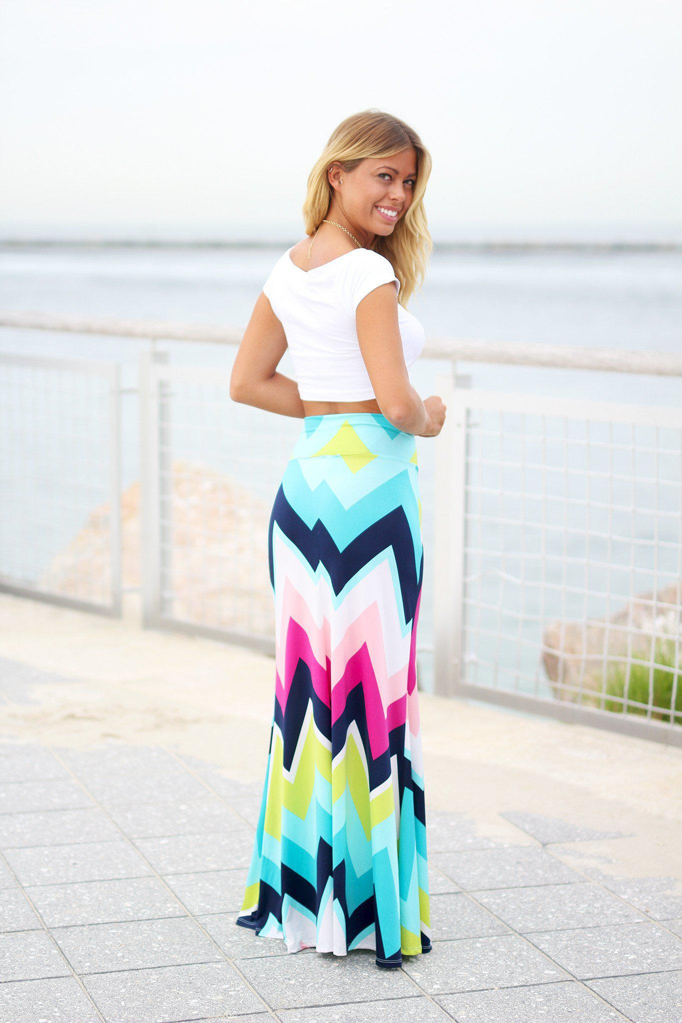 Multi Color Chevron Maxi Skirt