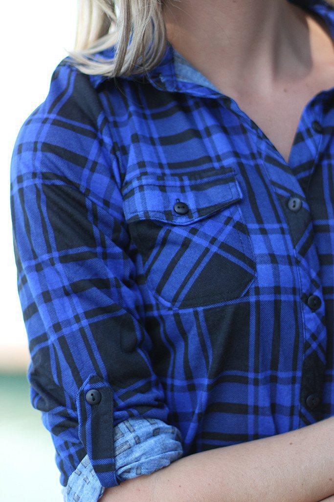 Navy And Black Plaid Top