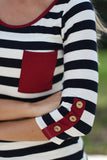Navy and Burgundy Striped Top With Buttons