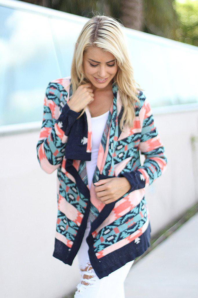 Navy And Coral Cardigan
