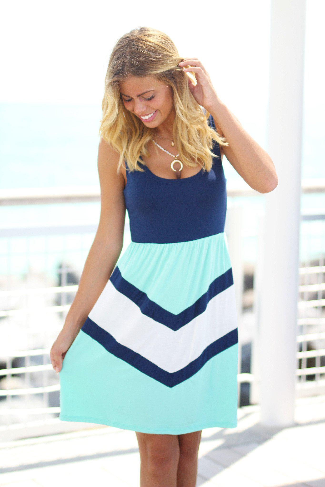 Navy Chevron Short Dress