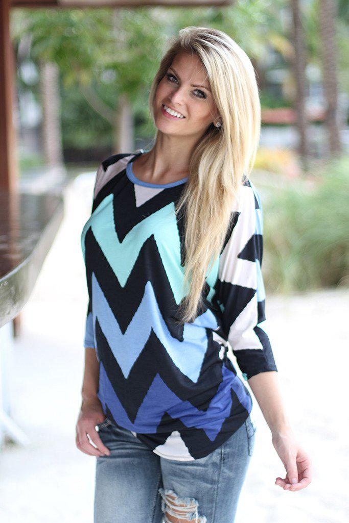 Navy And Mint Chevron Top