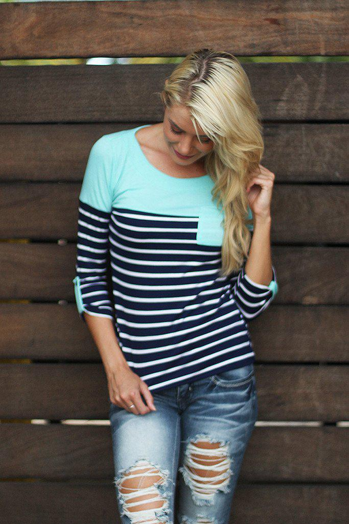 Navy and Mint Striped Top With Pocket