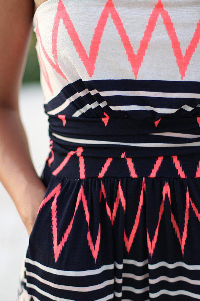 multi color chevron long dress with pockets