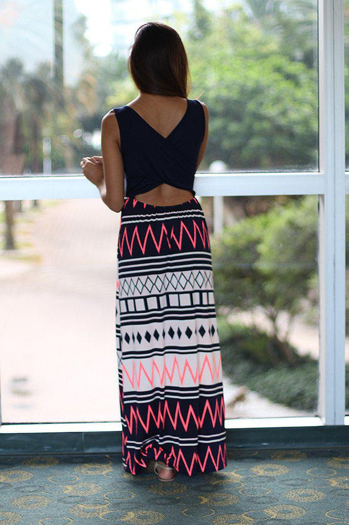 Navy And Neon Pink Maxi Dress With Criss Cross Back