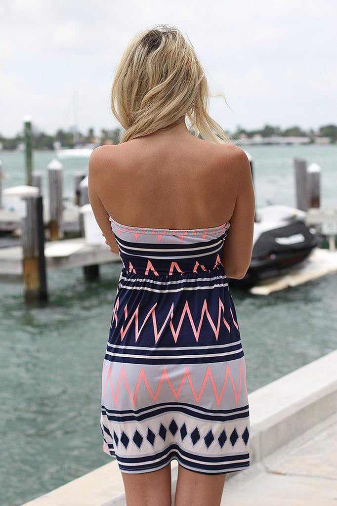 Navy And Neon Pink Short Dress