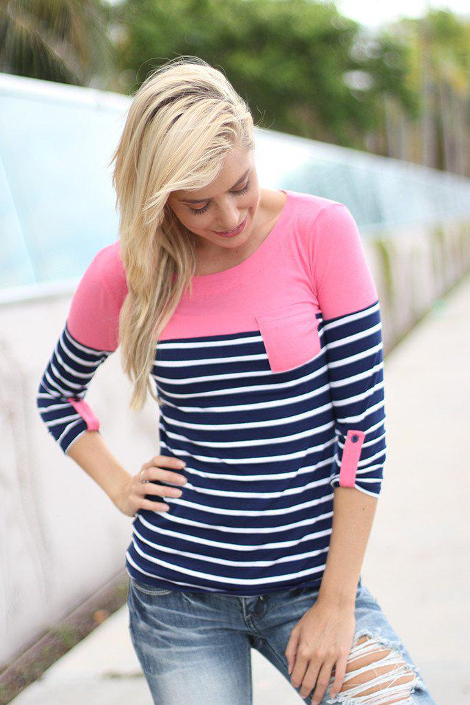 Navy and Pink Striped Top With Pocket