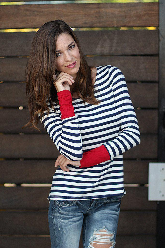 Navy And Red Striped Top