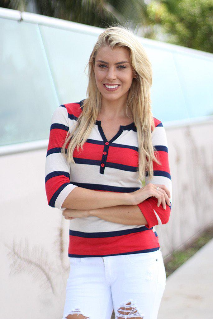 Red And Navy Striped Top