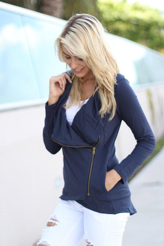 navy sweater with zipper