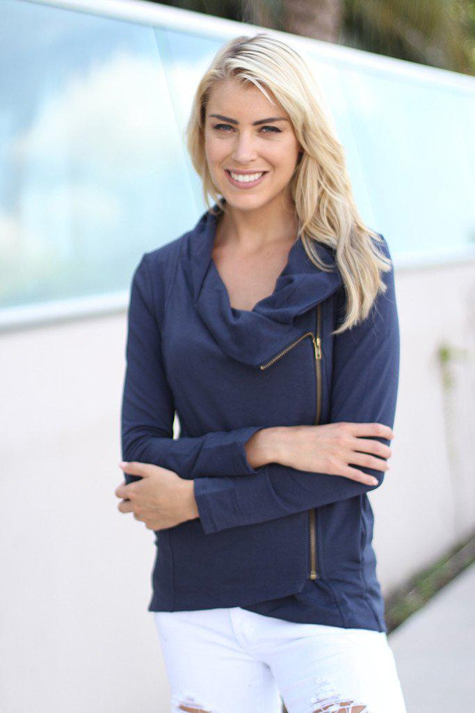 Navy Asymmetrical Jacket With Zipper