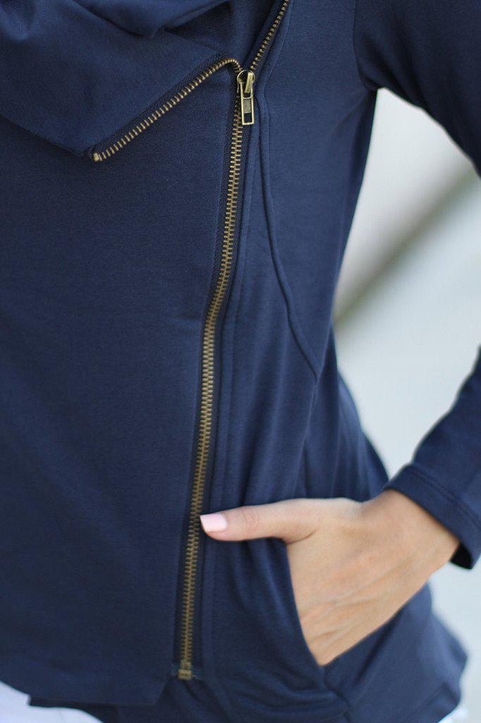 navy sweater with pockets