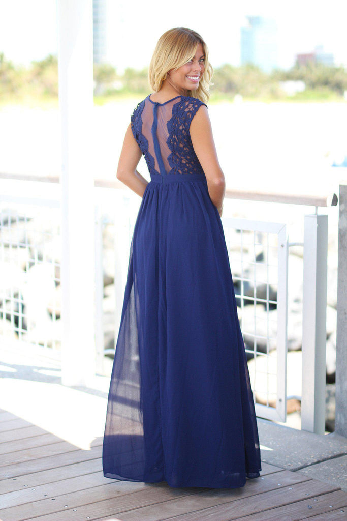 navy maxi dress with tulle back