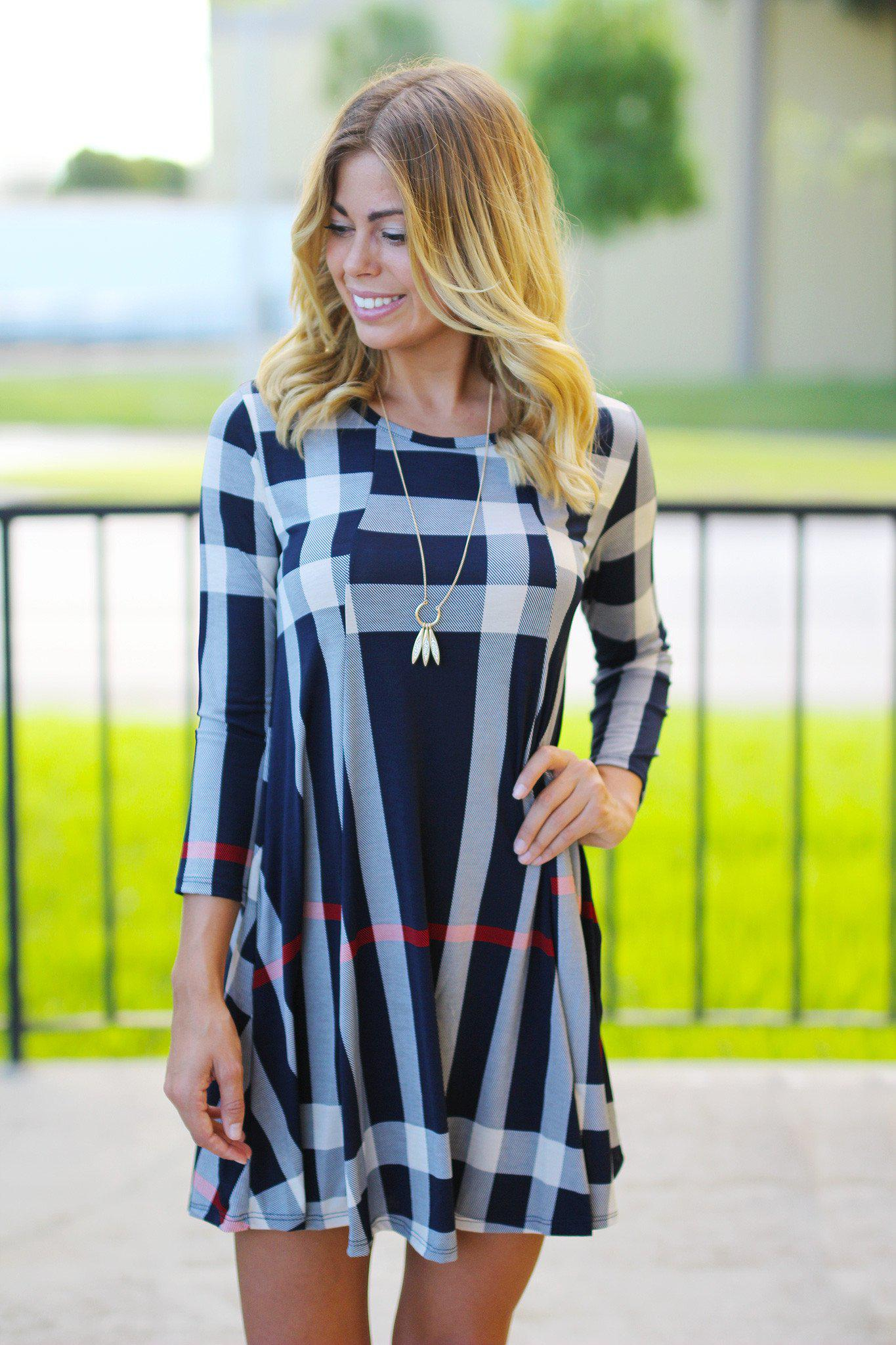 Navy Check Print Short Dress with 3/4 Sleeves